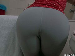Becca Diamond is a round assed maid. This dark haired clothed lady demonstrates her well shaped butt as she cleans the bathroom. She is dangerously sexy and her booty is really amazing.