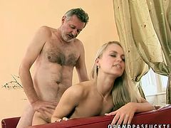 Frisky girl loves older men. So she is acting wild and naughty having passionate sex with old daddy. Cuddly girl is hammered deep in her clam doggy style.