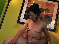 Mature black haired Elektra Lamour with small tits gets her hairy twat by young turned on stud and fucks with him to wet orgasm in provocative quick action filmed in close up.