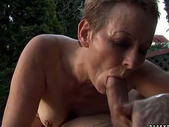 Manish looking short haired brunette mom gets her unkept bushy vagina pounded hard in sideways pose before a bald wanker starts poking her missionary style.