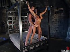 The round boobed brunette Jenaveve Jolie is the one having rough hardcore sex in a bondage and domination session where her pussy is fucked hard.