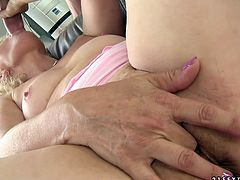 Horny stud grabs this old woman by her hair and pulls her towards his rock hard cock so she can blow him! She sucks that erection greedily like a dirty whore. Then she spreads her legs wide to let her lover pound her twat hard in missionary position.