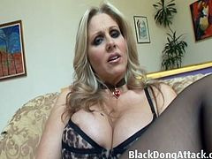 Julia Ann is 38 and still really hot. She takes Lex Steel's big black cock inside her very flexible cunt. She event puts a finger inside while he's fucking her.