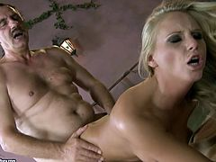 This blonde wants to knows what it feels like getting pounded by an old stud. She spreads her legs wide to let him drill her snatch hard in missionary position. Then she bends over for doggy style pounding.