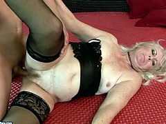 Hot mature woman in stockings is happy for this ones to have young handsome fuck buddy for pleasure. He fucks her hairy ugly pussy in in missionary style from behind.