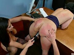 Two Employees Dominate Their Boss in Lesbian BDSM Femdom Threesome