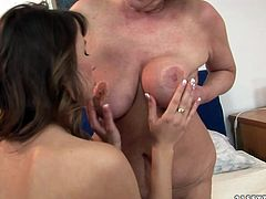 Quaggy blond grandma messes around with a foxy brunette chic. Old pervert gives her a tongue fuck as she stands in doggy pose before they continue with face sitting in sizzling hot lesbian sex video by 21 Sextury.