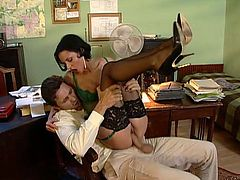 What a girl Michelle Wild is! She is a sexy secretary that thinks about her boss's hard cock 24/7. Check out how they fuck in the office!