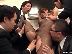 Horny guys licking and touching a hot Asian tramp