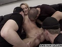 See a vicious blonde slut letting three guys pound the living hell out of her before covering her mouth, ass and tits with cum.