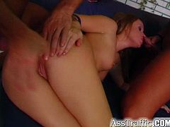 Peppering blond chic Anita flashes her cuddly body on cam before she proceeds to making out with two dudes at a time. She stands in doggy pose getting her pussy drilled hard from behind while sucking hard penis with her stinky mouth in MMF sex video by Perfect Gonzo.