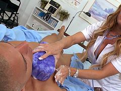 Blonde nurse in sexy stockings gets fucked and made to swallow by hot patient