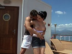Slutty brunette Angell Summers favours her man with a passionate deepthroat blowjob. Then they fuck in the reverse cowgirl position and Angell begs the dude to smash her butt as well.