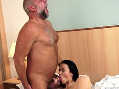 Slutty brunette Denise Sky is having fun with a salacious old dude. The man pleases Denise with cunnilingus and then fucks her vag in missionary and other positions.