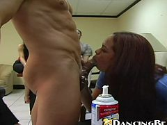 Brown-haired office chick is getting naughty with some guy at her work place. She sucks and rides the stud's wang and doesn't care that her colleagues are looking at them.