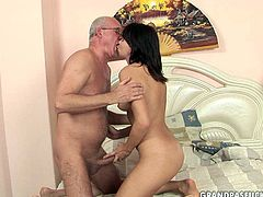 This brown-haired cutie knows how to get this old fart's attention. She pokes her butthole with dildo right in front of him and then she pleases him with a blowjob.