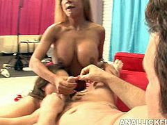 Two insatiable matures hook up with a big dicked fucker. They suck his sturdy cock in turns before one of them moves towards his anus to give it rimming in peppering threesome sex video by Pornstar.