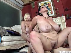 Samantha 38G and Angelina Castro are ready to suck and fuck in this amazing bbw threesome. Check the busty blonde and the naughty brunette sucking and riding their man's cock.