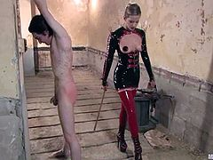 Blonde mistress stuffs guy's ass and gets her pussy licked