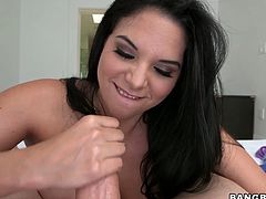 Curvy brunette Missy Martinez shows her big natural tits and hot ass to the man and turns him on. Then she rubs his dick ardently and gets cum on her palms.