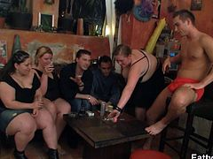 Check out these super horny Czech BBWS. They all want a piece of that young gent so they take his clothes off and suck his cock!