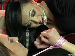 Venus Lux is the Asian tranny who loves to fuck pretty girls. So, tide up Alisha gets fucked deep in her mouth and vagina.