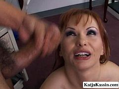 Bizarre porn slut Katja having ample rump and big boobs is incredibly good in hardcore anal fuck scene. She's got her butt hole torn up so it is a big sore after the session. At the end of the clip, slutty mom gets huge cumshot in her mouth so she swallows tasty cream greedily.