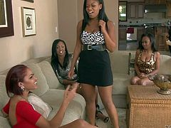 Layton Benton, Yasmine De Leon, Lya Lushes and Amber Z are all black lesbian honeys that find Skin Diamond sexy and cant wait to give her pussy a lick. Skin Diamond gets her shaved snatch eaten out by one lucky lesbian lady.