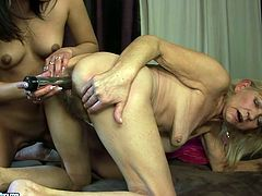 This young slut knows what she wants from this extremely perverted granny. She sits on her face and lets her get a taste of her delicious pussy.