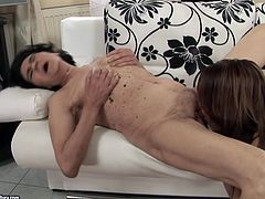 Dude, you're welcome to enjoy this super hot 21 Sextury xxx clip. Wondrous slim brunette with descent skin desires to get her wet juicy pussy licked by dirty-minded pale cougar with saggy tits.