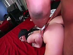 Adorable Andy Sandimas with provocative tattoos on lower belly and natural boobs gets hairy twat stretched by black bull with meaty stiff sausage in awesome positions all over the bed.