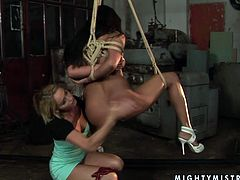 Naughty blonde woman Kathia Nobili applies a mix of sexual tortures and pleasures in filthy BDSM porn video. Obedient sex slave is also enjoying tough sex games.