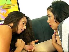 Slutty smoking hot sexy mother and daughter Ariella Ferrera and Shane Dos Santos with hot bodies in arousing outfits get horny and share shaved pecker in living room in amazing threesome.