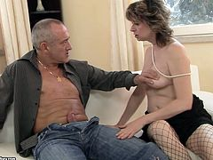 Incredibly perverted mature slut in fishnet stockings knows how to treat a rock hard cock. She sucks it passionately as if her life depends on it. Then she bends over for doggy style pounding.