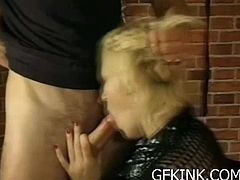 Check a slutty blonde belle getting her hot ass spanked before giving her man a hell of a blowjob. She definitely knows how to pleasure her master.