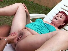 This dude knows how to make this old woman happy. He fingers her snatch fervently to make it wet. Then he pounds her thick pussy in missionary position.