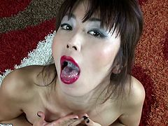 Slutty asian gets nailed in hardcore anal bu hunk with massive dick