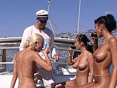 Bianca, Niky and Suzanna lick each others pussies and then suck a dick. Then they also rides a dick and get a mouthful.