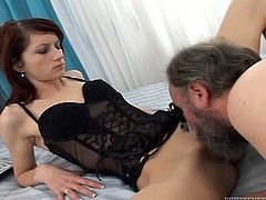 Lusty bitch is watching porn at her laptop. She gets horny and lustful so she starts pleasing her cunt with fingers. Then, fat old man enters the room catching her masturbating. He thrusts his dick in her mouth so she sucks him deepthroat.