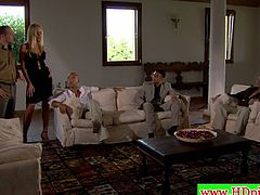 See a gorgeous Italian blonde getting her shaved pussy and tight ass dped by two dudes on the couch. Then she's ready for her face to be spectacularly creamed.