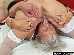 Check out these horny grannys having fun on a big kingsize bed. Watch them switching turns to experience some of their best orgasms ever using their favorite toys!