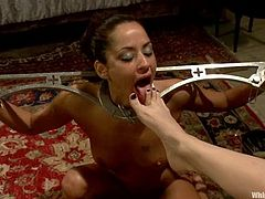 Sexy Cassidey gets her pussy licked and toyed by the redhead mistress. Then she also gets tied up and toyed with a strap-on. In addition Cassidey licks mistress' pussy.