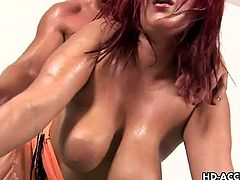 Horny redhaired slut Kamila is ready to play with a younger dude. After sucking his stiff cock like a real pro she takes it into her fat cunt and begs him to pound it hard!