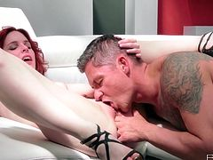 Captivating redhead chick Amarna Miller is making love with a dude called Sabby. Amarna pleases the guy with a blowjob and then they have sex in side-by-side and other positions.