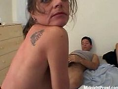 Worn out brunette matures makes out with two aroused fuckers in 4some sex orgy. They give their small cocks thorough blowjob in shabby looking cheap motel room.