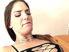 Sweet ass Lyen Parker is not the one to waste time with niceties. She warms up with a blowjob and then gets her bald beaver boned before an anal  crescendo.