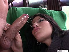 Sizzling brunette milf Juliana is having fun with some guy in a bus. They have terrific oral sex and then fuck in standing and many other positions.