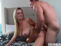 Abbey Brooks gives a blowjob and enjoys ardent banging indoors