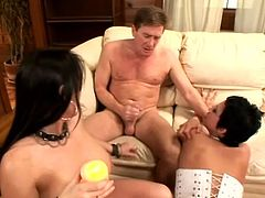 Press play and watch these smoking hot and insatiable babes having a threesome with this lucky fella. Watch them sharing his hard cock until they end up swapping his cum.