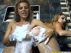 A bunch of slutty fucking blonde bitches get it on in the shower and it's a hot soapy scene, check it out right here, it's fucking awesome!